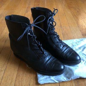 Stuart Weitzman Hidden Wedge Lace-up Leather Boot